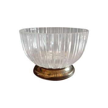 Pre-owned Italian Glass Bowl with Silver Base