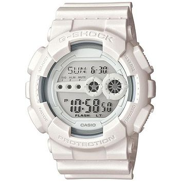 Casio Mens Whiteout G-Shock Super Illuminator - Flash Alert - Mirror LCD Display