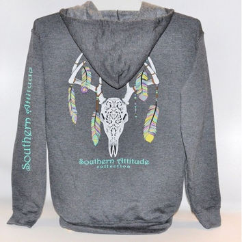Southern Attitude Preppy Feather Deer Skull Gray Full Zip Hoodie Pullover T-Shirt