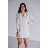 Antonia Embroidered Floral Dress - White