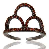 Black Oxidized Sterling Silver and Garnet Crown Design Midi Ring