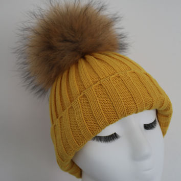 Yellow Raccoon Fur Pom Pom Hat