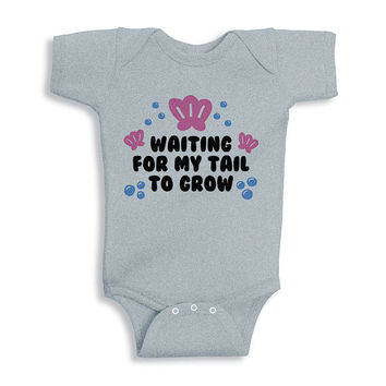 Waiting For My Tail To Grow Onesuit, Mermaid Baby Outfit, Hipster Baby Clothes, Newborn Mermaid Baby Girl Outfit, Baby Girl Mermaid Outfit