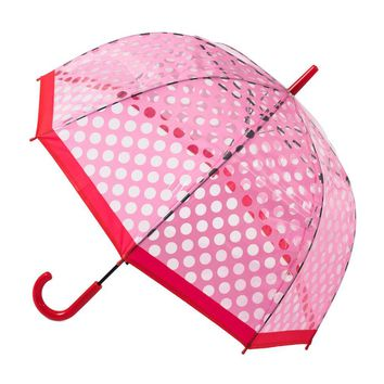 Clear Dome Stick Umbrella with Pink Polka Dots