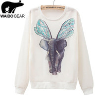 Elephant with Wings Loose Hoodie For Trendy Women