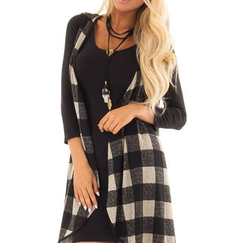 Black Checkered Sleeveless Open Front Vest