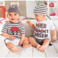 1 pieces retail new cotton fashion baby boys summer outfit set infant clothings set ( tee + pants + hats ) - Default
