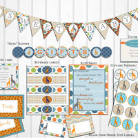Teal, Orange & Lime Giraffe Baby Shower Decorations: Banner, Printable Package, gender neutral, instant download by The Lil Shop that Could