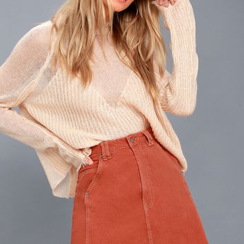 Open Road Terra Cotta Chambray Mini Skirt