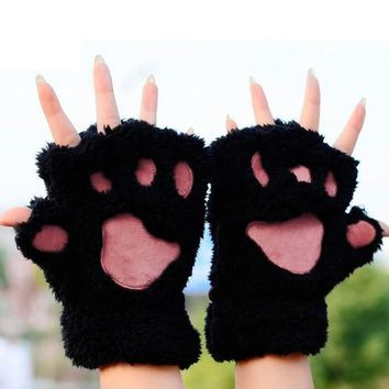 Winter Keep Warm Cute Women Gloves Fluffy Bear Plush Paw Glove Girl Novelty Soft Half Covered Mittens Gloves