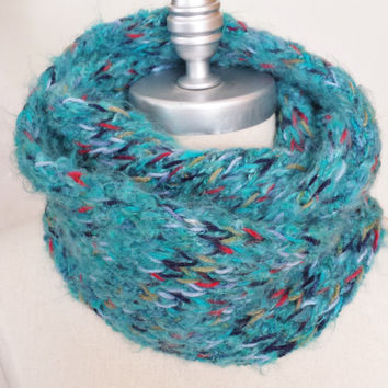 Multicolor Scarf, Infinity Scarf, Knit Circle Scarf, Loop Scarf, Mobius Scarf, Fashion Knitwear, Spring Essentials