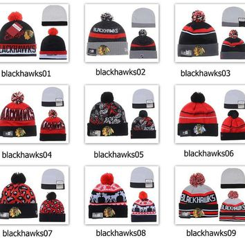 Winter Wool Hats Blackhawks Beanies
