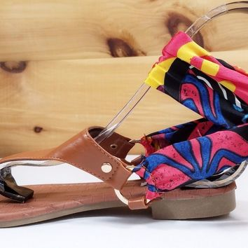 Cape Multi Scarf Wrap Flat Thong Sandal Camel Casual Dressy Summer Shoes