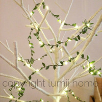 Long length 4m leaf garland LED fairy string lights perfect for rustic wedding decoration summer party event enchanted forest woodland theme
