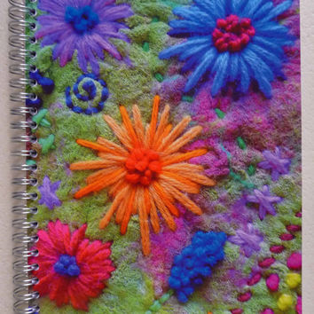 art print notebook,sketchbook, printed image, felt, felted, flowers