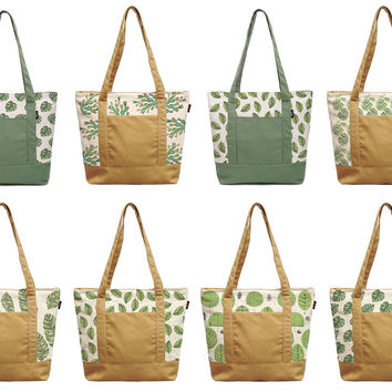 Palm Leaves Patterns Printed 100% Cotton Canvas Vintage Shoulder Bags WAS_13