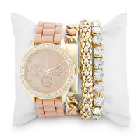 Geraldine Clear Crystal 14k Gold Nude Watch Set