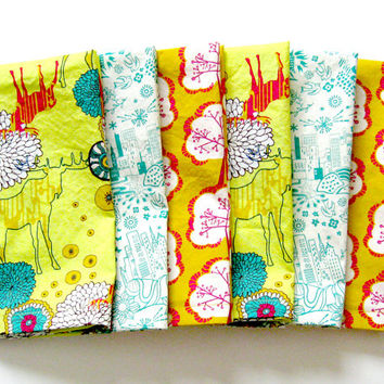 Cloth Napkins - Set of 6 - Large Dinner Table Napkins - Mismatched, Assorted, Variety - Orange Yellow White Green Woodland Deer Trees