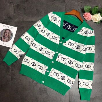 """Gucci"" Women Fashion Avocado Green Multicolor Stripe Letter Long Sleeve V-Neck Knitwear Cardigan Coat"