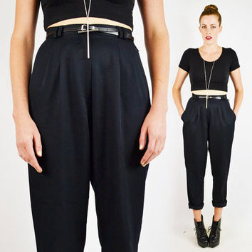 vintage 80s black HIGH WAIST SKINNY pants / high waisted skinny pants / skinny leg pants / pleated trouser pants / black dress pants / s