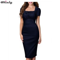 Women Elegant Vintage Pin Up Bow Ruched Tunic Square Collar Business Casual Work Party Stretch Bodycon Pencil Sheath Dress