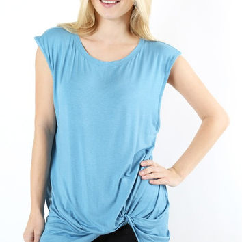 Ocean Blue Boutique Style Sleeveless Twist front Tunic tank top