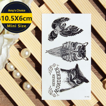 waterproof temporary 3d tattoo Sticker body art fake owl tattoo cool stuff funny things sexy products for girl women men