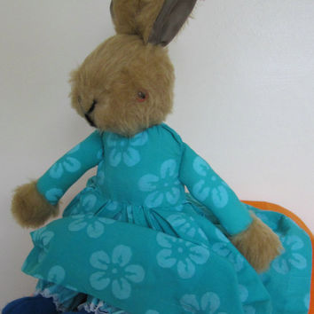 Jemima Rabbit-Limited Edition-Traditional-Collectable-Dressed-Brown Plush Toy-Aqua Dress-Decorated Apron-Optional Carrot-Xmas-Birthday-Gift