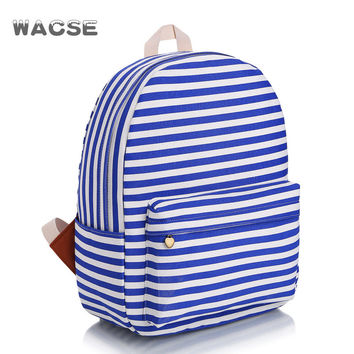 Classic Travel Classics Striped Stylish Casual Fashion Stripes Canvas Backpack = 4887772036