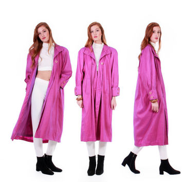 80s Vintage Iridescent Pink Purple Coat Long Shiny Metallic Nylon Raincoat Oversized Lightweight Trench Winter Jacket Women Size Large XL