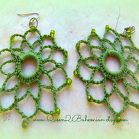 Green Crochet Earrings, Statement Earrings, boho, Direct Checkout