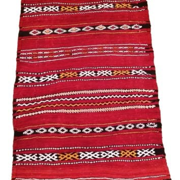 Moroccan Flat Weave Kilim Rug - Hand Woven Zemmour in Red Wool - 38 x 20.5 inches