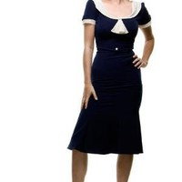 Stop Staring 1940's Style Navy & Ivory Railene Dress - S to 3X - Unique Vintage - Cheap Prom Dresses