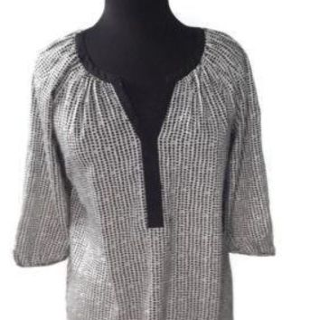 ANN TAYLOR womens Black and Cream Tunic Top Size XS