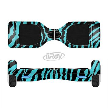 The Vector Teal Zebra Print Full-Body Skin Set for the Smart Drifting SuperCharged iiRov HoverBoard