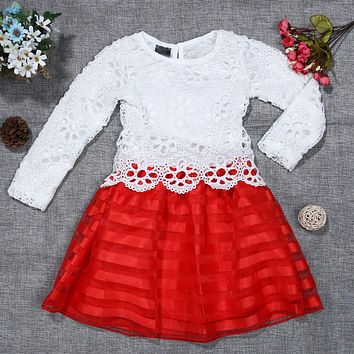 Baby Girls Chiffon Dress Long Sleeve Floral Lace Long Sleeve Princess Dresses Wedding Dress Children Party Costume