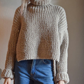 Hand Knit Sweater Oversized Sweater. Asymmetrical Chunky Sweater. Turtleneck Sweater. Cropped Sweater