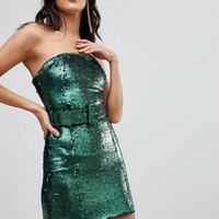ASOS Sequin 80's Belted Bandeau Bodycon Mini Dress