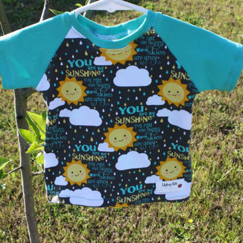 Raglan T-shirt 12 months, You Are My Sunshine short sleeve shirt, dark mint back and sleeves