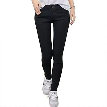 Casual Women Vintage Skinny Denim Jeans Gradient Color Slim Ripped Pencil Jeans Hole Pants High Waist Trousers