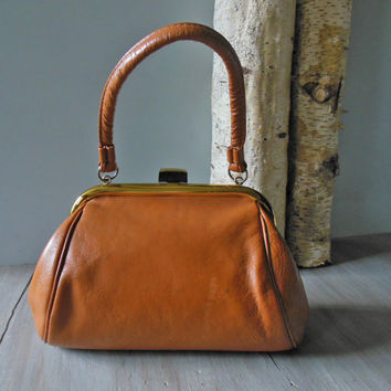 caramel doctor bag | 1970s brown suede and dark tan leather bowler handbag | small satchel style brown purse