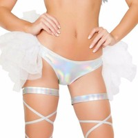 Holographic Silver Booty Shorts with Attached Half Tutu