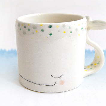 Ceramic Cup or Mug of a Dreamy Whale in Earthenware, Decorated with Green and Yellow Polka Dots