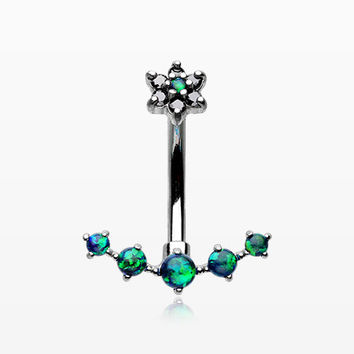 Opal Sparkle Journey Internally Threaded Belly Button Ring