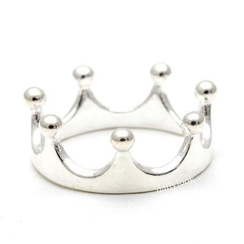 sterling silver ring, tiara ring, crown ring, tiara, adjustable ring, simple ring, midi ring, woman ring, bridesmaid ring, wedding ring