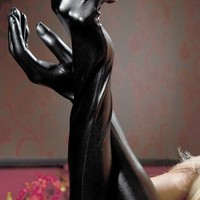 New Sexy Women's Black Faux Leather Latex Gothic Fetish Clubwear Gloves Hip-pop Jazz Five Fingers Long Gloves
