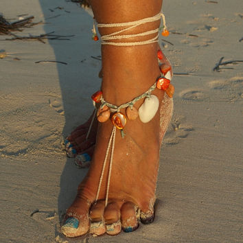 Orange mother-of-pearl sea shell, beach jasper stone crochet barefoot sandal, foot jewelry, Dominican beach wedding, Caribbean boho anklet