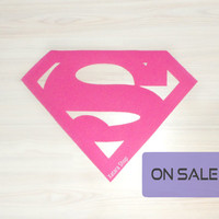 SALE** Rug made with a Superman logo. Pink doormat. Custom door mat shape.