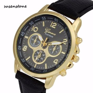 Susenstone Men Fashion Casual Watch Unisex Geneva Leather Belt Quartz Wrist Watch Men Business Sports Clock Relogio Masculino