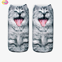 Animal Print socks with Kitties Low Cut Ankle socks